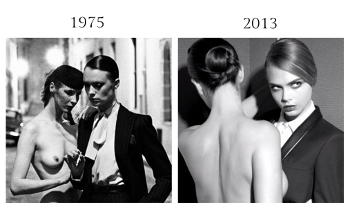 Helmut Newton, Yves Saint Laurent, Rue Aubriot, Vogue France, 1975, Paris - Cara Delevingne for YSL Baby Doll Mascara, 2013