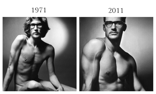 Yves Saint Laurent in the Pour Homme fragrance campaign by Jeanloup Sieff, 1971 - David Gandy in Dolce and Gabbana Eyewear campaign by Mariano Vivanco, FW 2011