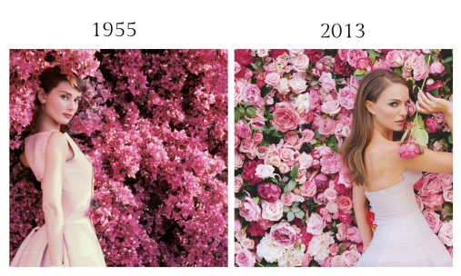 Audrey Hepburn by Norman Parkinson, 1955 - Natalie Portman by Tim Walker for Miss Dior Cherie, 2013