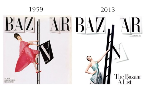 Dovima by Richard Avedon, Harper's Bazaar December 1959 - Anne Hathaway by David Slijper, Harper's Bazaar UK subscriber cover February 2013
