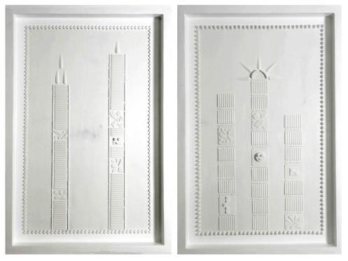 Elevazione Tav1 - Tav2 Tecnica mista con inserti materici su legno 60 x 40 x 5 Anno 2016 copia